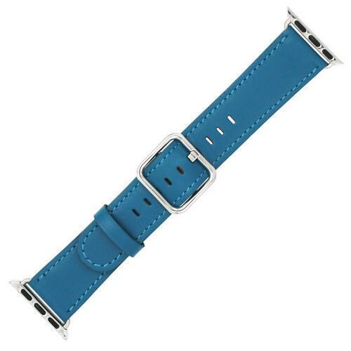 Apple Blue / 42 mm Leather Strap For Apple Watch Band 42mm 38mm iwatch 4/3 Bracelet 44mm 40mm bracelet Stainless Steel Classic Buckle Watchband, USA Fast Shipping