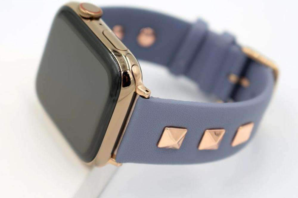 Apple Blue / 42mm / 44mm Apple Watch Series 5 4 3 2 Band, Punk gold Studded Leather Rivets Design, fits iWatch, 38mm, 40mm, 42mm, 44mm