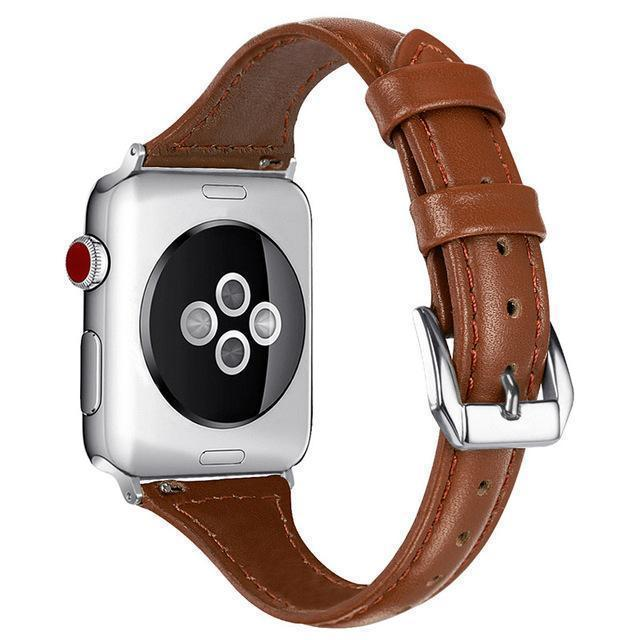 Apple brown / 38-mm Band for Apple Watch Leather Bnad 38mm 42mm 40mm 44mm Rose Gold Silver Strap For Apple Watch Bracelet Series 4 3 2 1 For Women