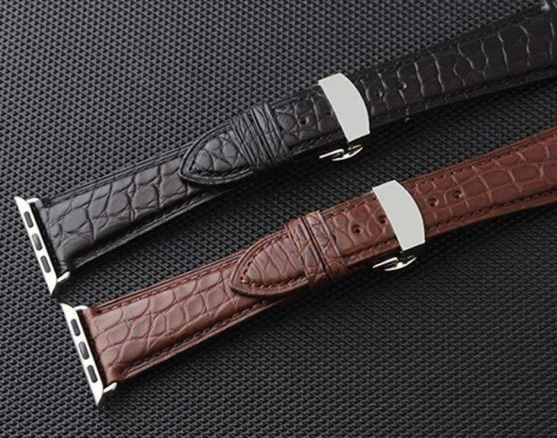 Apple Brown / 38mm / 40mm Apple Watch Series 5 4 3 2 Band, Genuine Crocodile Leather, Silver Butterfly Buckle Strap Black and Brown 38mm, 40mm, 42mm, 44mm