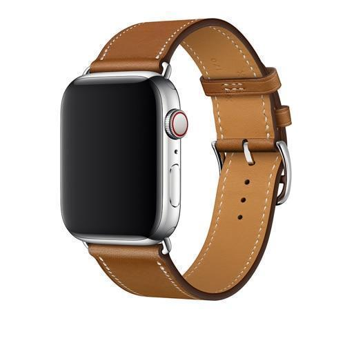 Apple Brown / 38mm Apple Watch Series 5 4 3 2 Band, Leather Single Tour Strap, Bracelet iWatch 38mm, 40mm, 42mm, 44mm - US Fast Shipping