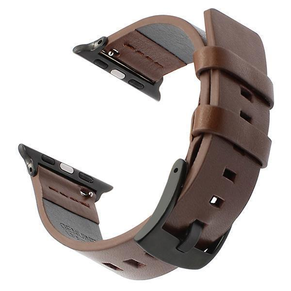 Apple Brown B / 38mm Italy Genuine Leather Watchband for iWatch Apple Watch 38mm 40mm 42mm 44mm Series 1 2 3 4 Band Steel Buckle Strap Wrist Bracelet