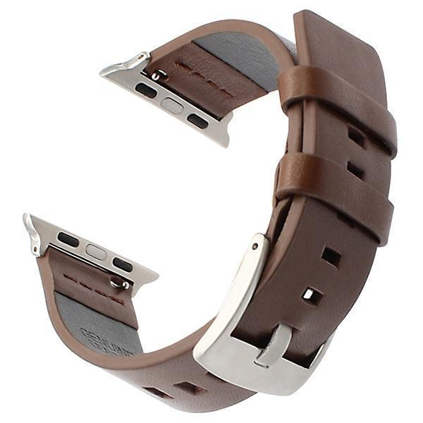 Apple Brown S / 38mm Italy Genuine Leather Watchband for iWatch Apple Watch 38mm 40mm 42mm 44mm Series 1 2 3 4 Band Steel Buckle Strap Wrist Bracelet