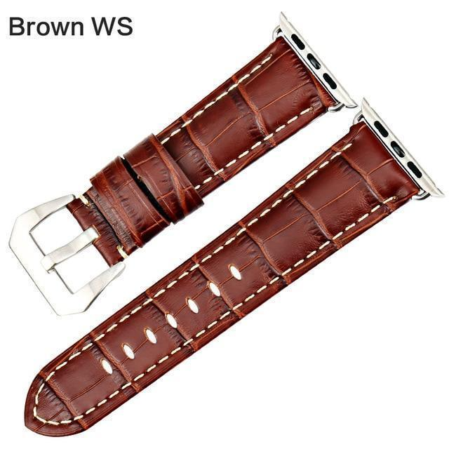 Apple Brown WS / For Apple Watch 38mm Watchbands genuine cow leather watch strap for Apple Watch Band 42mm 38mm series 4 1 iwatch 4 44mm 40mm  watch bracelet