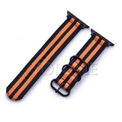 Apple China / Black-Black Orange / For iwatch 38mm Watchband For Apple Watch Band 42mm 44mm Nylon NATO Sport Strap 38mm 40mm iWatch Bands Accessories Bracelet Series 4 321