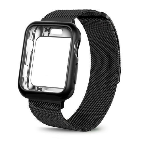 Apple China / black / For apple watch 38mm Case+watch strap for Apple Watch 3 iwatch band 42mm 38mm Milanese Loop bracelet Stainless Steel watchband for Apple Watch 4 3 21