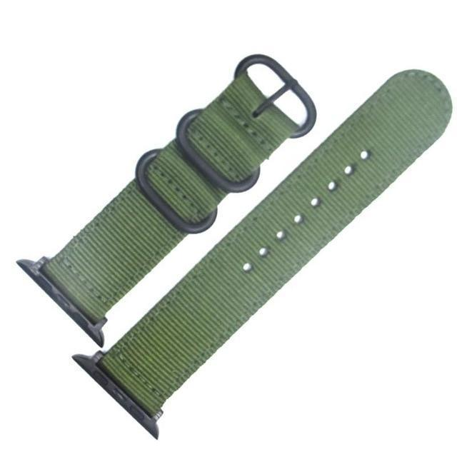 Apple China / Black-Grmy Green / For iwatch 38mm Watchband For Apple Watch Band 42mm 44mm Nylon NATO Sport Strap 38mm 40mm iWatch Bands Accessories Bracelet Series 4 321