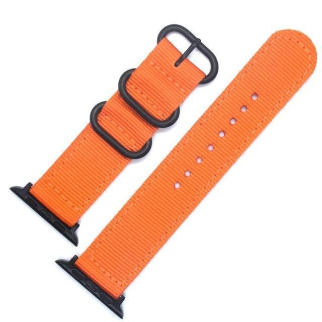 Apple China / Black-Orange / For iwatch 38mm Watchband For Apple Watch Band 42mm 44mm Nylon NATO Sport Strap 38mm 40mm iWatch Bands Accessories Bracelet Series 4 321