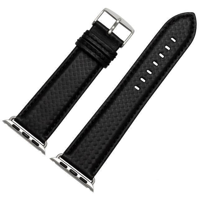 Apple China / Black-silver / 38mm or 40mm Luxury Strap for Apple watch band 44 mm 40mm iWatch band 42mm 38mm Carbon fiber+Leather watchband bracelet Apple watch 4 3 2 1