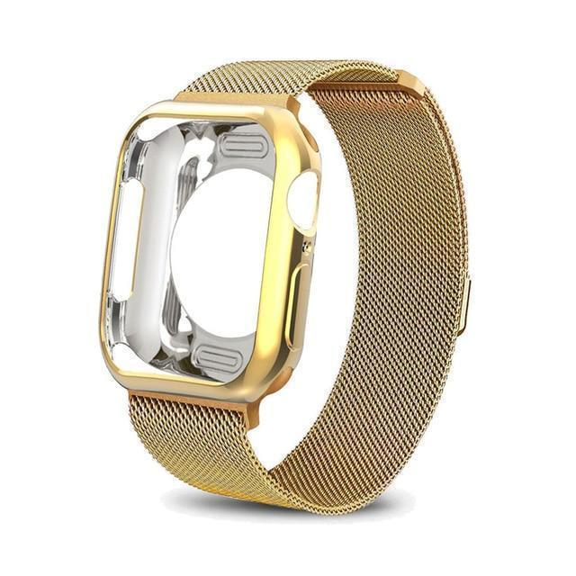 Apple China / gold / For apple watch 38mm Case+watch strap for Apple Watch 3 iwatch band 42mm 38mm Milanese Loop bracelet Stainless Steel watchband for Apple Watch 4 3 21