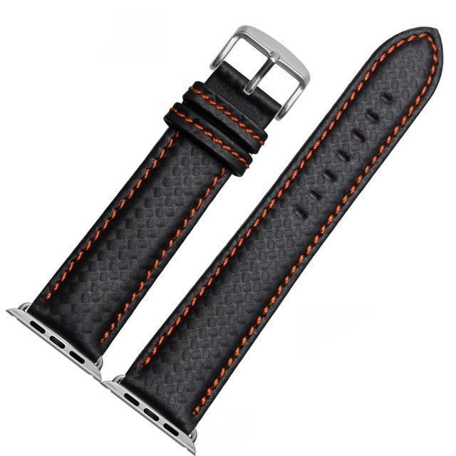 Apple China / Orange-silver / 38mm or 40mm Luxury Strap for Apple watch band 44 mm 40mm iWatch band 42mm 38mm Carbon fiber+Leather watchband bracelet Apple watch 4 3 2 1