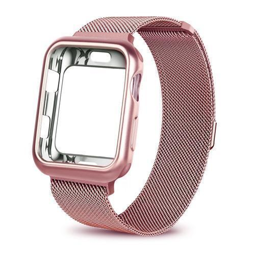 Apple China / pink gold / For apple watch 38mm Case+watch strap for Apple Watch 3 iwatch band 42mm 38mm Milanese Loop bracelet Stainless Steel watchband for Apple Watch 4 3 21