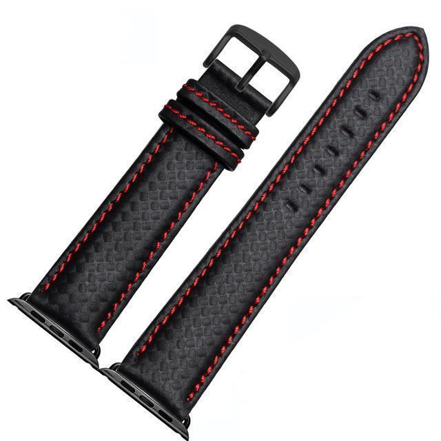 Apple China / Red-black / 38mm or 40mm Luxury Strap for Apple watch band 44 mm 40mm iWatch band 42mm 38mm Carbon fiber+Leather watchband bracelet Apple watch 4 3 2 1