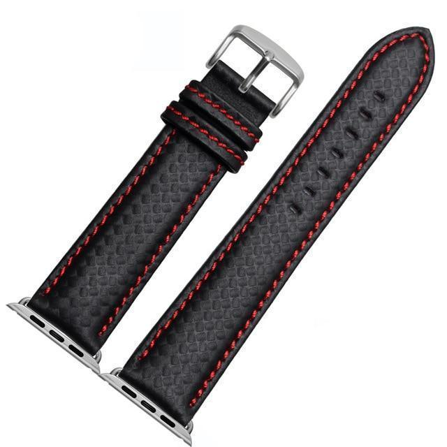 Apple China / Red-silver / 38mm or 40mm Luxury Strap for Apple watch band 44 mm 40mm iWatch band 42mm 38mm Carbon fiber+Leather watchband bracelet Apple watch 4 3 2 1