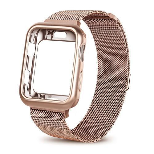 Apple China / rose gold / For apple watch 38mm Case+watch strap for Apple Watch 3 iwatch band 42mm 38mm Milanese Loop bracelet Stainless Steel watchband for Apple Watch 4 3 21