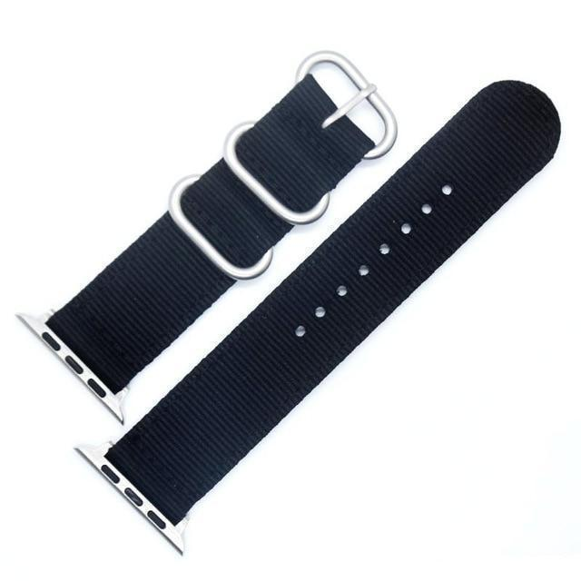 Apple China / Silver-Black / For iwatch 38mm Watchband For Apple Watch Band 42mm 44mm Nylon NATO Sport Strap 38mm 40mm iWatch Bands Accessories Bracelet Series 4 321
