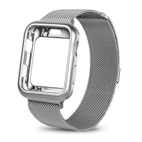 Apple China / silver / For apple watch 38mm Case+watch strap for Apple Watch 3 iwatch band 42mm 38mm Milanese Loop bracelet Stainless Steel watchband for Apple Watch 4 3 21