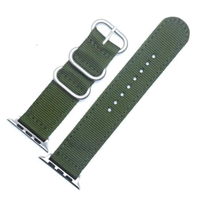 Apple China / Silver-Grmy Green / For iwatch 38mm Watchband For Apple Watch Band 42mm 44mm Nylon NATO Sport Strap 38mm 40mm iWatch Bands Accessories Bracelet Series 4 321