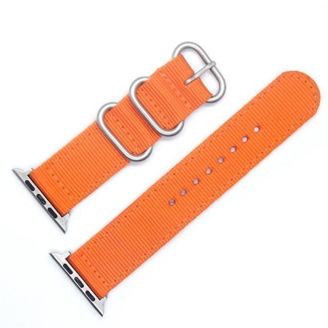 Apple China / Silver-Orange / For iwatch 38mm Watchband For Apple Watch Band 42mm 44mm Nylon NATO Sport Strap 38mm 40mm iWatch Bands Accessories Bracelet Series 4 321