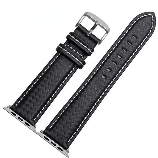 Apple China / White-silver / 38mm or 40mm Luxury Strap for Apple watch band 44 mm 40mm iWatch band 42mm 38mm Carbon fiber+Leather watchband bracelet Apple watch 4 3 2 1