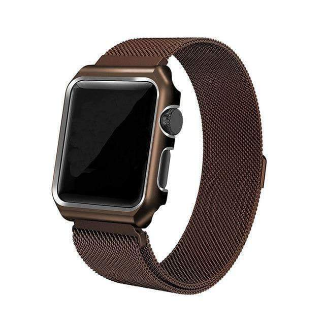 Apple coffee / 38mm band case Apple Watch band Milanese mesh magnetic Loop stainless steel metal Strap & Watch Case bundle  42mm 44mm iwatch 4/3/2/1 38mm 40 mm Bracelet Watchband - USA Fast Shipping