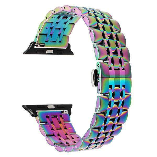 Apple Colorful / 38mm Apple watch band link sport strand Stainless Steel Watchband for iWatch  44mm/ 40mm/ 42mm/ 38mm Series 1 2 3 4  Bracelet strap Black Rose Gold Silver