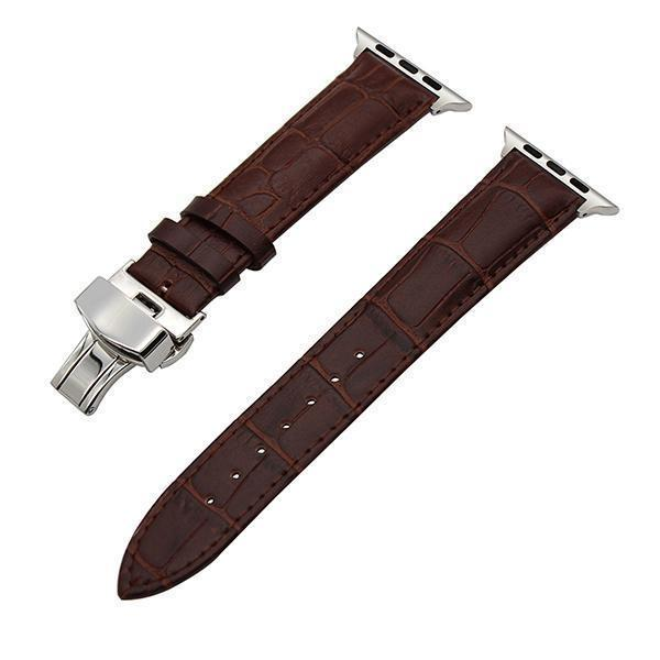 Apple Dark Brown / 38mm Faux Leather Watchband for 38mm 40mm 42mm 44mm iWatch Apple Watch Series 4 3 2 1 Band Butterfly Buckle Strap Bracelet