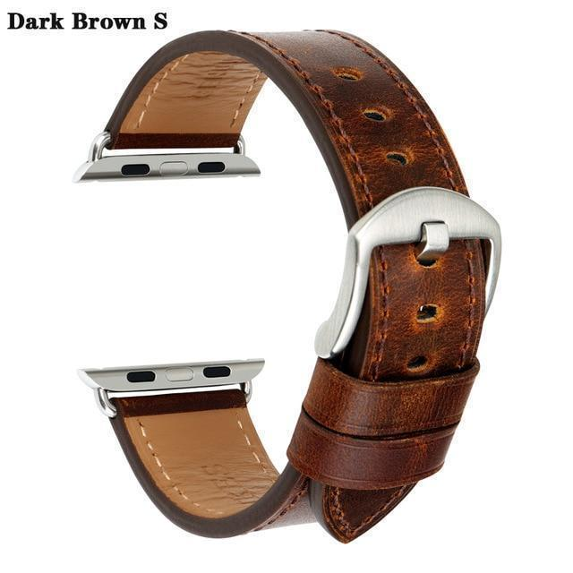 Apple Dark Brown S / For Apple Watch 38mm Watch Accessories Genuine Leather For Apple Watch Band 44mm 40mm & Apple Watch Bands 42mm 38mm Series 4 3 2 1 Watch Strap