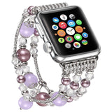 Apple Dark Purple / 38mm / 40mm Apple Watch Series 5 4 3  Band, Agate Beads Pearl Bracelet stretch Strap, iWatch Women Watchband Adapters 38mm, 40mm, 42mm, 44mm