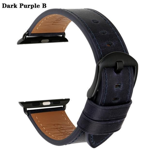 Apple Dark Purple B / For Apple Watch 38mm Watch Accessories Genuine Leather For Apple Watch Band 44mm 40mm & Apple Watch Bands 42mm 38mm Series 4 3 2 1 Watch Strap