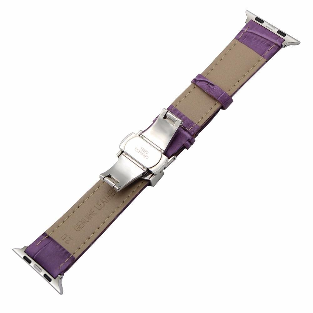 Apple Faux Leather Watchband for 38mm 40mm 42mm 44mm iWatch Apple Watch Series 4 3 2 1 Band Butterfly Buckle Strap Bracelet