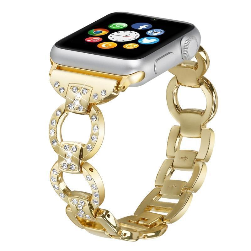 Apple Gold / 38mm/40mm Apple Watch bling diamond band, 38mm 40mm 42mm 44mm, Luxury Stainless Steel Link Strap For iWatch Series 3 2 1 - US Fast shipping
