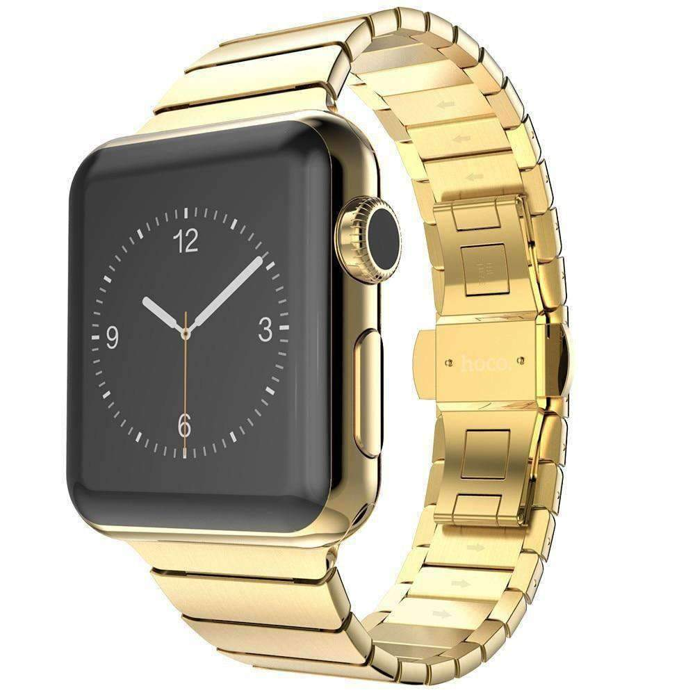 Apple Gold / 38mm / 40mm Apple Watch Series 5 4 3 2 Band, Luxury Stainless Steel Link Bracelet Minimal band with adapters 38mm, 40mm, 42mm, 44mm - US Fast Shipping