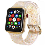 Apple gold / 38mm/40mm Sport Soft glitter Silicone Strap For Apple Watch Series 4 3 2 1 44mm 40mm 42mm 38mm Band Replacement Strap Wristband For iWatch Band - US Fast shipping