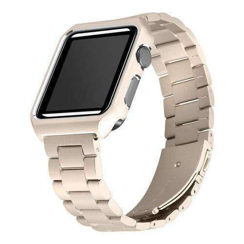Apple gold / 38mm Apple watch band case stainless steel  strap 42mm/38 metal bracelet for iwatch series 1/2/3 - USA Fast Shipping
