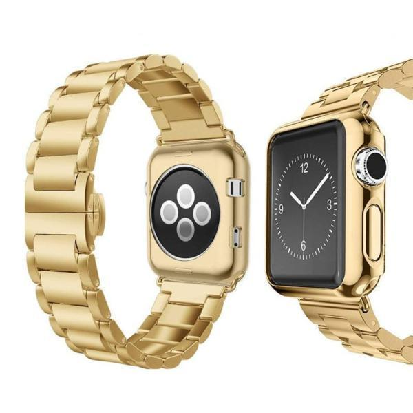 Apple gold / 38mm Apple Watch Series 5 4 3 2 Band, Luxury case bundle set, Stainless Steel strap bracelet metal rolex link watchband, 38mm, 40mm, 42mm, 44mm