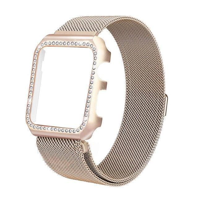 Apple gold / 38mm Strap & Diamond Case Apple Watch bundle 38mm 40mm 44mm 42mm Stainless Steel band Milanese Loop Bracelet for iWatch 4 3 2 1