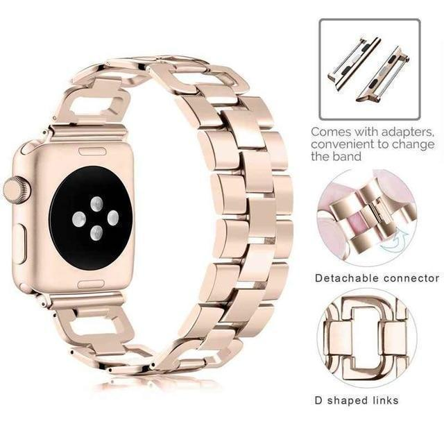 Apple Gold / For 38mm and 40mm Apple Watch Series 5 4 3 2 Band, Upgarded Strap Metal Replacement Wristband Sport Strap for Nike+ 38mm, 40mm, 42mm, 44mm