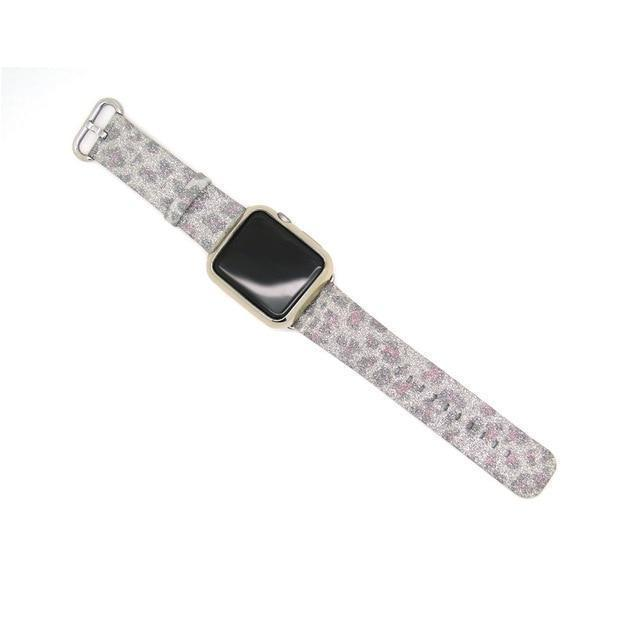 Apple Gray / 38mm/40mm Leopard Rainbow Bling Glitter Leather Band for Apple Watch Series 1 2 3 Strap 42mm 38mm Bracelet for iWatch Wristband