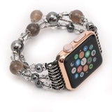 Apple Gray / 42mm / 44mm Apple Watch Series 5 4 3  Band, Agate Beads Pearl Bracelet stretch Strap, iWatch Women Watchband Adapters 38mm, 40mm, 42mm, 44mm