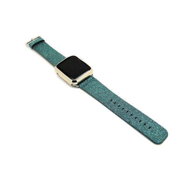 Apple GREEN / 38mm/40mm Leopard Rainbow Bling Glitter Leather Band for Apple Watch Series 1 2 3 Strap 42mm 38mm Bracelet for iWatch Wristband