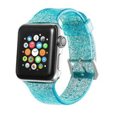 Apple green / 38mm/40mm Sport Soft glitter Silicone Strap For Apple Watch Series 4 3 2 1 44mm 40mm 42mm 38mm Band Replacement Strap Wristband For iWatch Band - US Fast shipping