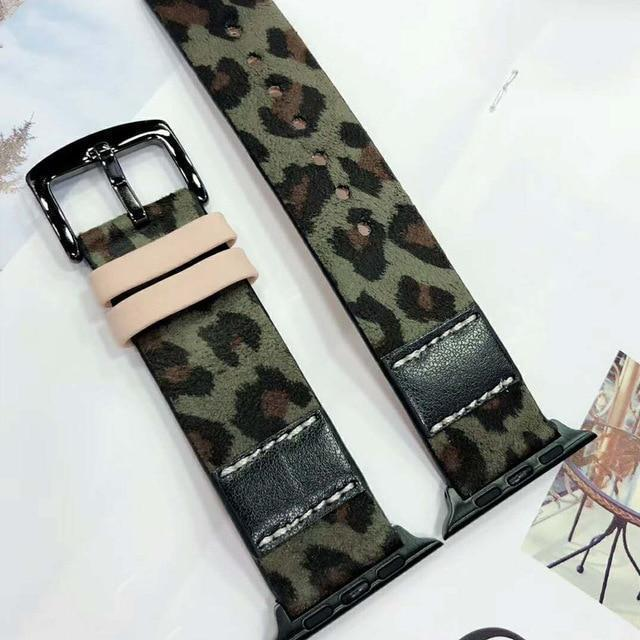 Apple Green / for 38mm Luxury Leopard Print Leather Watch Strap for Apple Watch Series 4 3 2 1 Band Men/Women Bracelet 38mm 42mm 40mm 44mm