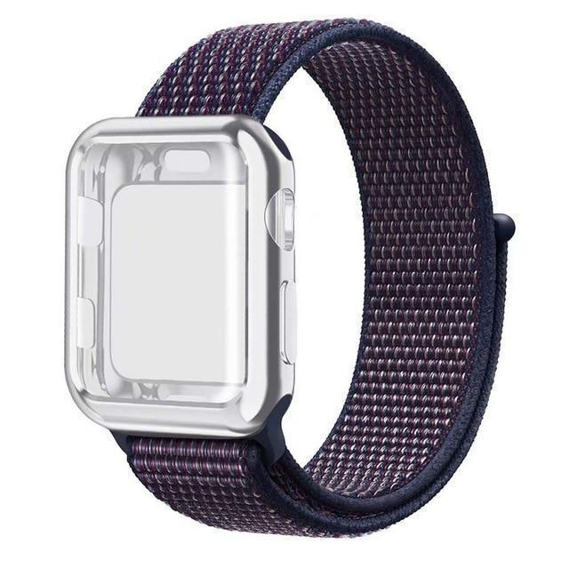 Apple indigo / 38mm Nylon Sport Loop band with case For Apple Watch 38mm 42mm 40mm 44mm screen protector iWatch series 4 3 2 1 sport bracelet strap