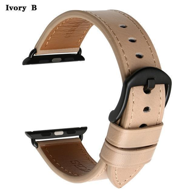 Apple Ivory B / For Apple Watch 38mm Watch Accessories Genuine Leather For Apple Watch Band 44mm 40mm & Apple Watch Bands 42mm 38mm Series 4 3 2 1 Watch Strap