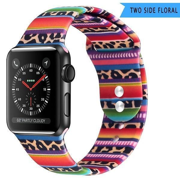 Apple Leopard pattern / 38 40mm SM Apple Watch Series 5 4 3 2 Band, Lily inspired Sport Band, Bohemian Leopard Flower Rainbow Double Side Print Silicone Strap 38mm, 40mm, 42mm, 44mm