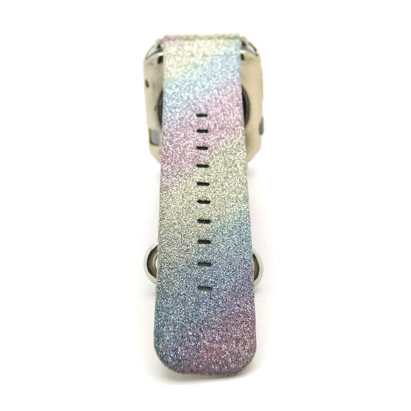 Apple Leopard Rainbow Bling Glitter Leather Band for Apple Watch Series 1 2 3 Strap 42mm 38mm Bracelet for iWatch Wristband
