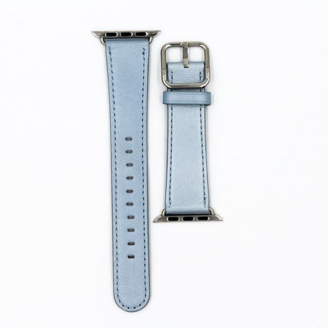 Apple Light Blue / 38mm / 40mm Apple Watch Series 5 4 3 2 Band, Classic Buckle Band for iWatch Calf Leather With Square Buckle Modern Design 38mm, 40mm, 42mm, 44mm