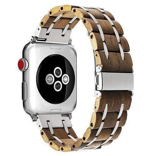 Apple Light Brown / 38mm Apple Watch band wood, Stainless Steel mix Watchband for iWatch  38mm 40mm 42mm 44mm Fits Series 1 2 3 4