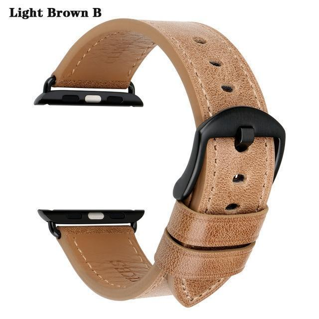 Apple Light Brown B / For Apple Watch 38mm Watch Accessories Genuine Leather For Apple Watch Band 44mm 40mm & Apple Watch Bands 42mm 38mm Series 4 3 2 1 Watch Strap